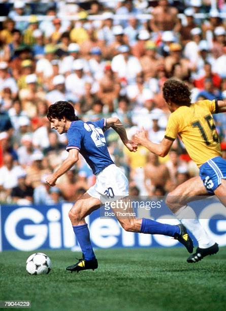 World Cup Finals Second Phase Barcelona Spain 5th July Italy 3 v Brazil 2 Italy's Paolo Rossi is chased by Brazil's Paulo Falcao