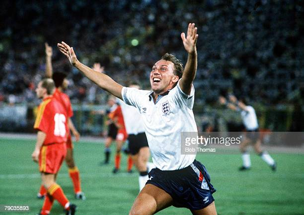 World Cup Finals Second Phase Bologna Italy 26th June England 1 v Belgium 0 England's David Platt celebrates after dramatically scoring the winning...