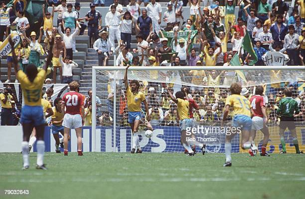 World Cup Finals Second Phase Guadalajara Mexico 16th June Brazil 4 v Poland 0 Brazilian team members celebrate the first goal scored by Socrates