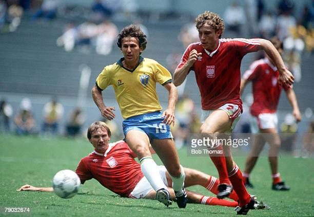 World Cup Finals Second Phase Guadalajara Mexico 16th June Brazil 4 v Poland 0 Brazil's Zico in a race for the ball with Poland's Ryszard Tarasiewicz