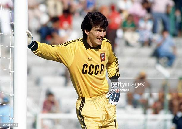 World Cup Finals Second Phase Leon Mexico 15th June Belgium 4 v USSR 3 USSR's goalkeeper Rinat Dasaev leans on a post