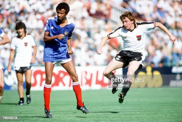 World Cup Finals Second Phase Madrid Spain 28th June France 1 v Austria 0 Austria's Bernd Krauss shoots past France's Jean Tigana