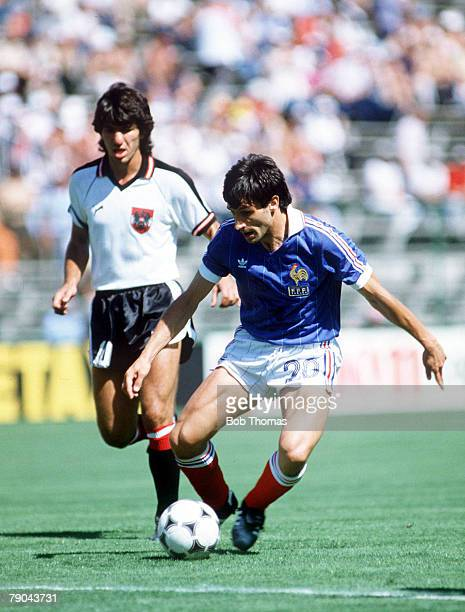 World Cup Finals Second Phase Madrid Spain 28th June France 1 v Austria 0 France's Gerard Soler is followed by Austria's Reinhold Hintermaier