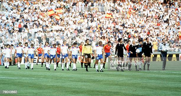 World Cup Finals Second Phase Madrid Spain 5th July England 0 v Spain 0 England and Spain are led out prior to the match