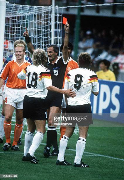 World Cup Finals Second Phase Milan Italy 24th June West Germany 2 v Holland 1 West Germany's Rudi Voeller and Frnk Rijkaard are sent off by referee...