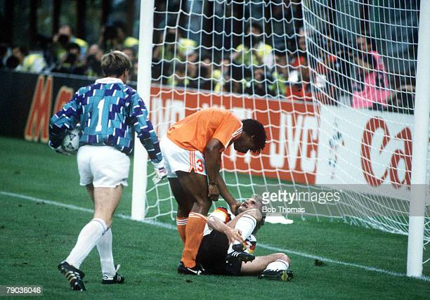 World Cup Finals Second Phase Milan Italy 24th June West Germany 2 v Holland 1 West Germany's Rudi Voeller clashes with Holland's Frank Rijkaard as...