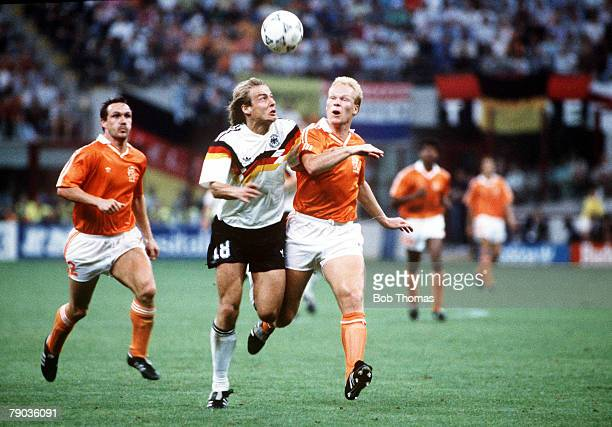 World Cup Finals Second Phase Milan Italy 24th June West Germany 2 v Holland 1 West Germany's Jurgen Klinsmann battles for the ball with Holland's...
