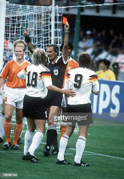 World Cup Finals Second Phase Milan Italy 24th June West Germany 2 v Holland 1 West Germany's Rudi Voeller and Frank Rijkaard are sent off by referee...