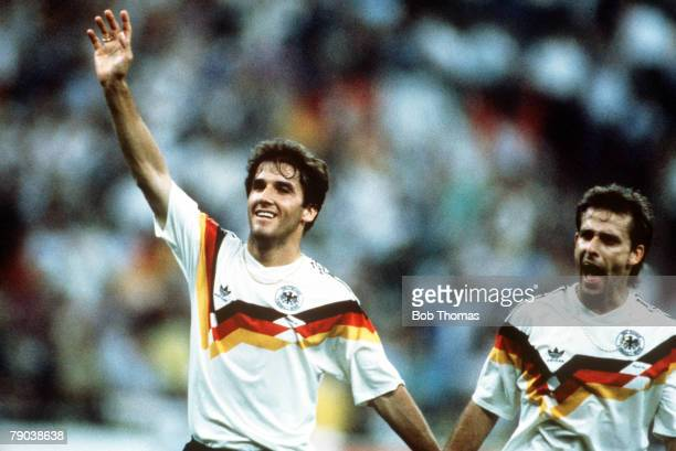 World Cup Finals Second Phase Milan Italy 24th June West Germany 2 v Holland 1 West Germany's Karl Heinz Reidle celebrates his team's win at the end...