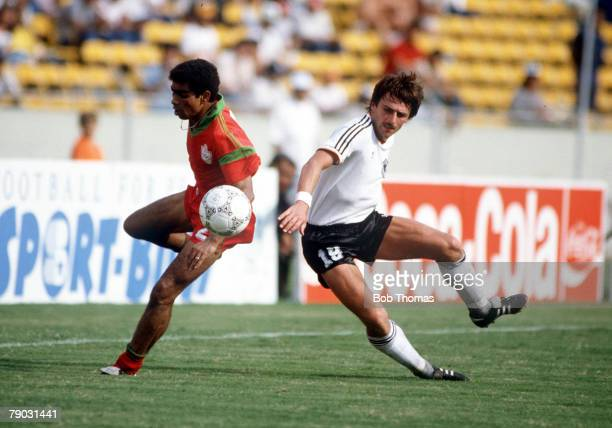 World Cup Finals Second Phase Monterrey Mexico 17th June West Germany 1 v Morocco 0 Morocco's Labd Khalifa battles for the ball with West Germany's...