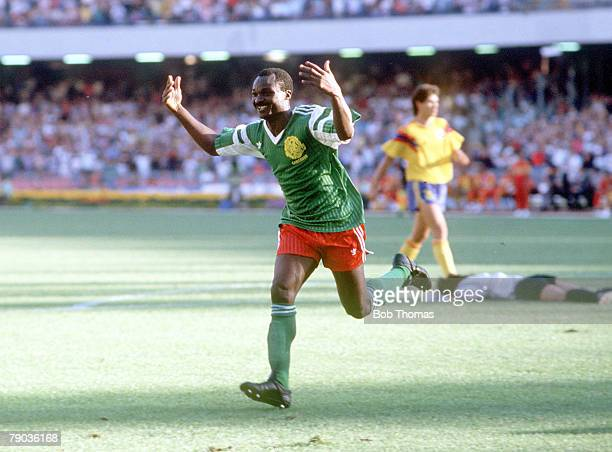 World Cup Finals Second Phase Naples Italy 23rd June Cameroon 2 v Colombia 1 Cameroon's Roger Milla celebrates after scoring the second goal to put...