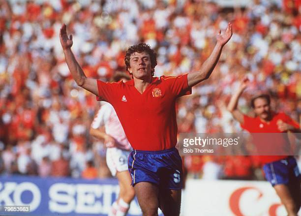 World Cup Finals Second Phase Queretaro Mexico 18th June Spain 5 v Denmark 1 Spain's Emilio Butragueno who scored four goals in the match