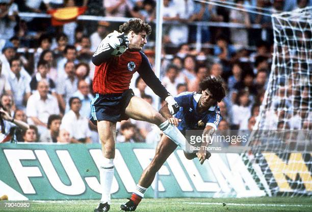 World Cup Finals SemiFinal Seville Spain 8th July West Germany 3 v France 3 West Germany's goalkeeper Harald Schumacher saves the ball from France's...