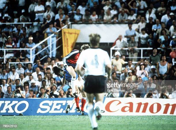 World Cup Finals SemiFinal Seville Spain 8th July West Germany 3 v France 3 France's Patrick Battiston is seriously hurt following a challenge from...