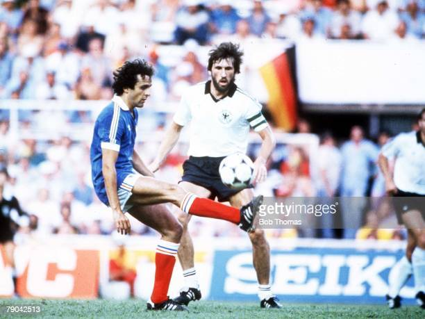 World Cup Finals SemiFinal Seville Spain 8th July West Germany 3 v France 3 France's Michel Platini is faced by Manny Kaltz