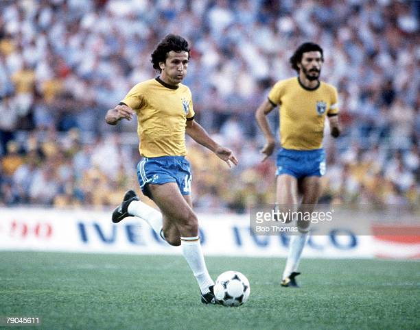 World Cup Finals Seville Spain 14th June Brazil 2 v USSR 1 Brazil's Zico watched by Socrates