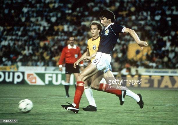 World Cup Finals Seville Spain 18th June Brazil 4 v Scotland 1 Scotland's Alan Hansen gets away from Brazil's Paulo Falcao