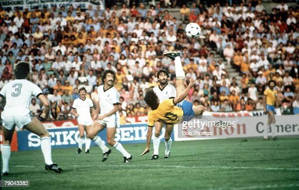 World Cup Finals Seville Spain 23rd June Brazil 4 v New Zealand 0 Brazil's Zico tries an overhead kick at the New Zealand goal