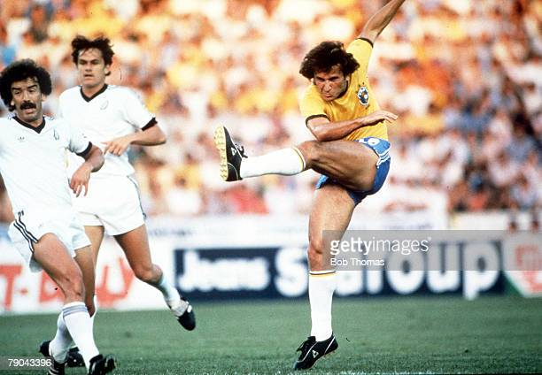 World Cup Finals Seville Spain 23rd June Brazil 4 v New Zealand 0 Brazil's Zico fires in a shot at the New Zealand goal