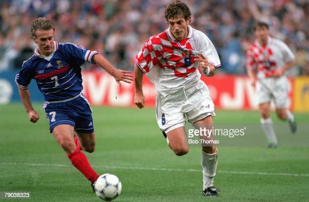 World Cup Finals St Denis France SemiFinal 8th July France 2 v Croatia 1 Croatia's Slaven Bilic fights for the ball with France's Didier Deschamps
