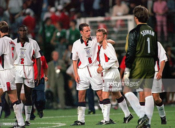 World Cup Finals St Etienne France 30th June England 2 v Argentina 2 England's David Batty is consoled by Gareth Southgate after he missed the vital...