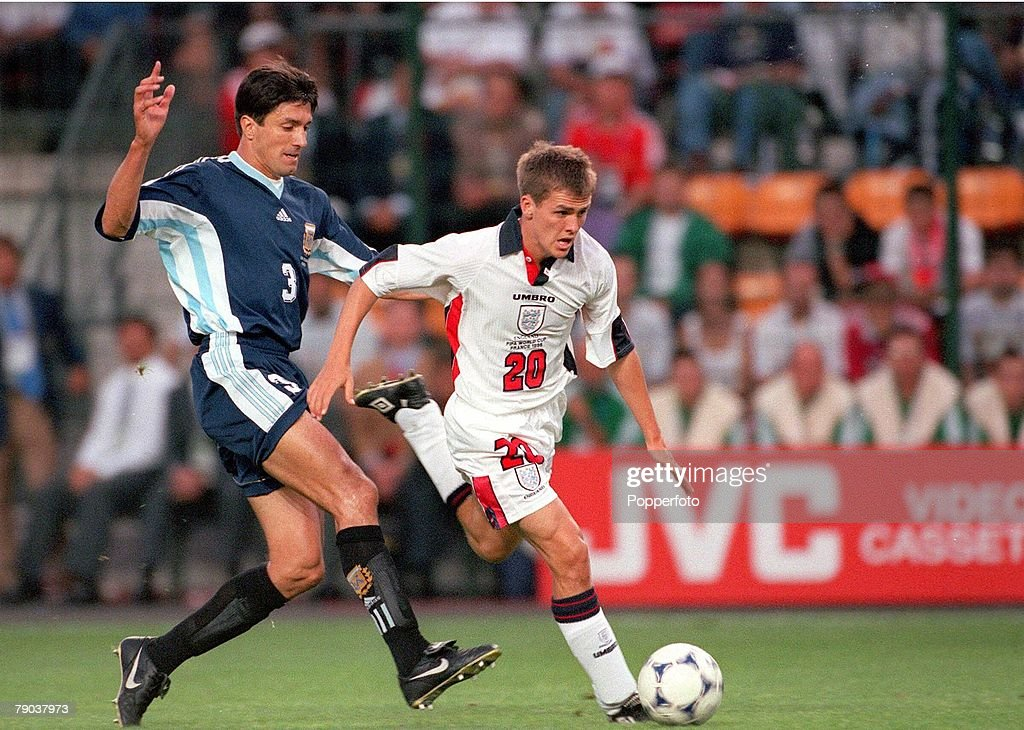 World Cup Finals St Etienne France 30th June England 2 v Argentina 2 England's Michael Owen holds off Jose Chamot on his way to scoring his...