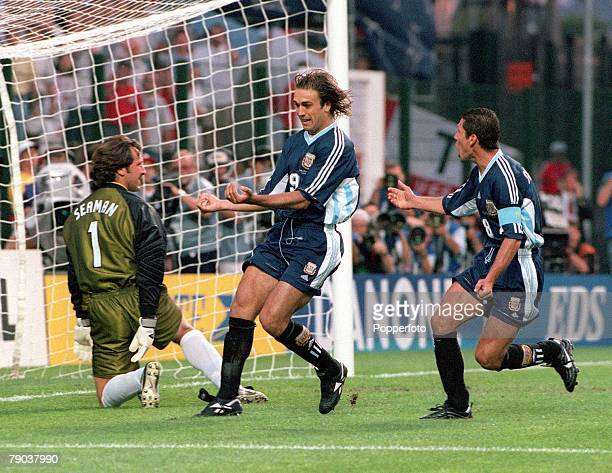 World Cup Finals St Etienne France 30th June England 2 v Argentina 2 Argentina's Gabriel Batistuta celebrates putting his side 10 ahead from the...