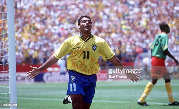 World Cup Finals Stanford USA 24th June Brazil 3 v Cameroon 0 Brazil's Romario celebrates after he scored the 1st goal
