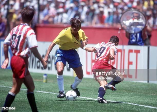 World Cup Finals Stanford USA 4th July Brazil 1 v USA 0 USA's Tab Ramos clashes with Brazil's Leonardo during the match Leonardo lashed out with his...