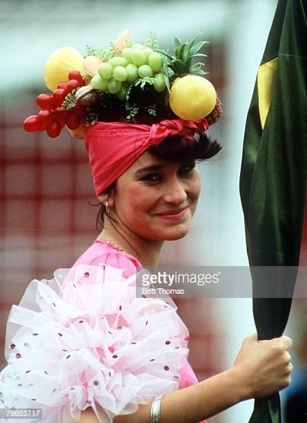 World Cup Finals Toluca Mexico 11th June Belgium 2 v Paraguay 2 A Belgian fan wears a fruit basket on her head