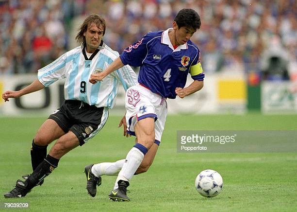 World Cup Finals Toulouse France 14th June Argentina 1 v Japan 0 Japan's Masami Ihara turns away from Argentina's Gabriel Batistuta