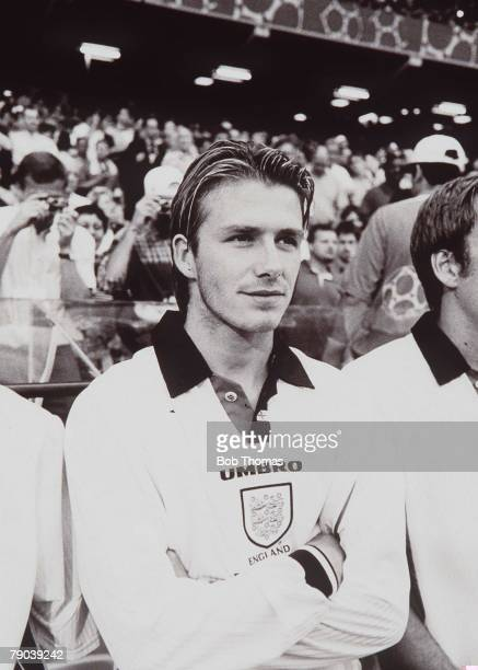 World Cup Finals Toulouse France 22nd June 1998 England 1 v Romania 2 David Beckham one of Englands substitutes made his World Cup debut replacing...