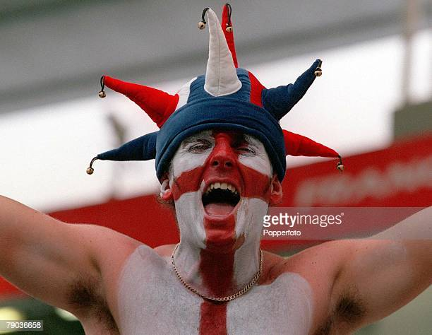 World Cup Finals Toulouse France 22nd June England 1 v Romania 2 England fan with a jesters hat