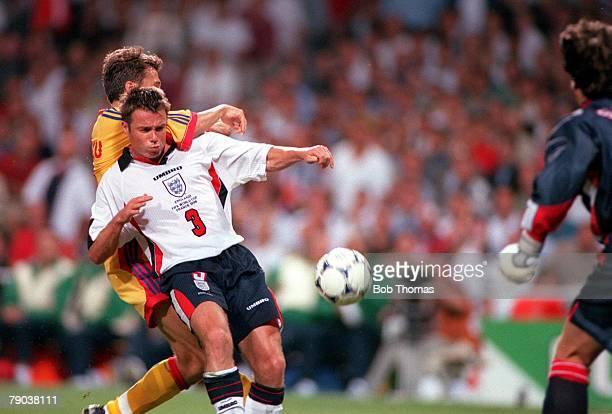 World Cup Finals Toulouse France 22nd June England 1 v Romania 2 England's Graeme Le Saux fails to stop Dan Petrescu to score Romania's winning goal