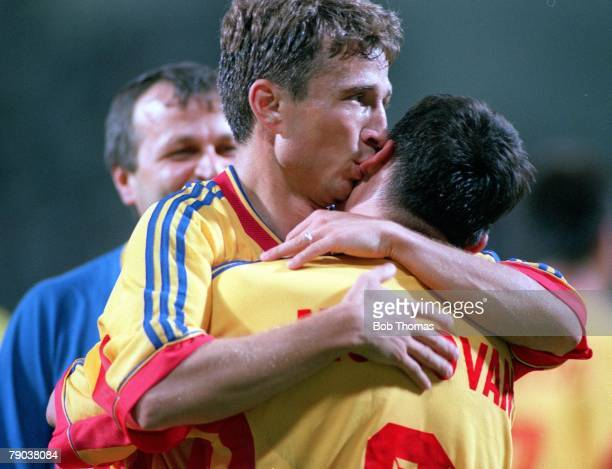 World Cup Finals Toulouse France 22nd June England 1 v Romania 2 Romania's goalscorers Dan Petrescu Viorel Moldovan celebrate at the end of the match
