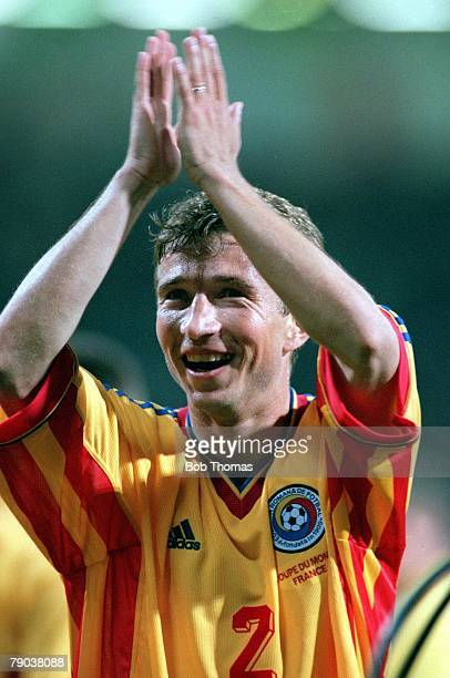 World Cup Finals Toulouse France 22nd June England 1 v Romania 2 Romania's goalscorer Dan Petrescu celebrates at the end of the match