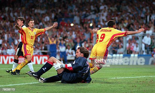 World Cup Finals Toulouse France 22nd June England 1 v Romania 2 Romania's Viorel Moldovan celebrates after scoring his sides first goal beating...