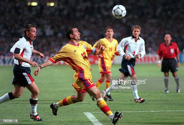 World Cup Finals Toulouse France 22nd June England 1 v Romania 2 Romania's Gheorghe Hagi crosses the ball for Moldovan to score the first goal