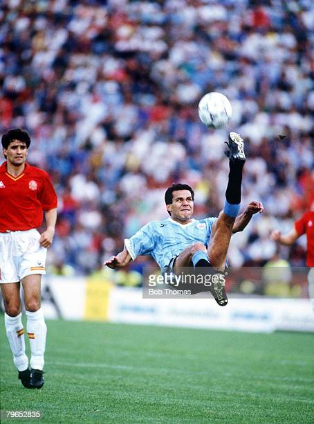 World Cup Finals Udine Italy 13th June Spain 0 v Uruguay 0 Uruguay's Ruben Paz attempts an overhead kick