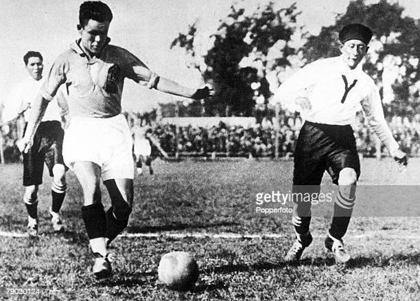 World Cup Finals UruguayYugoslavia 4 v Bolivia 0 Yugoslavia's Alexander Tirnantich causes problems for the Bolivian defence