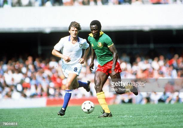 World Cup Finals Vigo Spain 23rd June 1982 Italy 1 v Cameroon 1 Italy's Giancarlo Antognoni is beaten by Cameroon's Emmanuel Kunde
