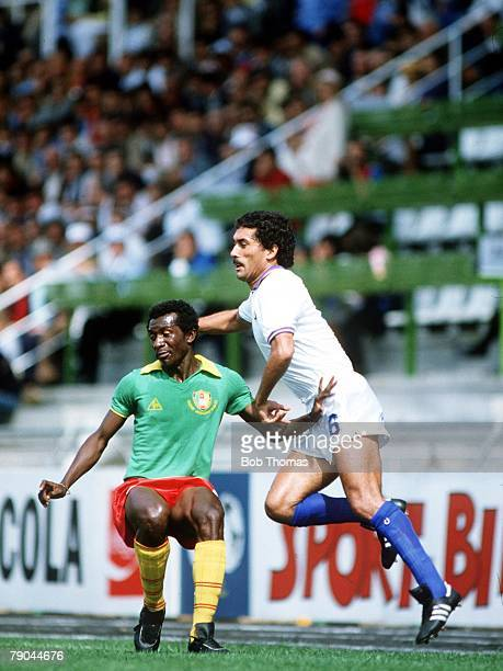 World Cup Finals Vigo Spain 23rd June 1982 Italy 1 v Cameroon 1 Italy's Claudio Gentile challenges Cameroon's Gregoire Mbida for the ball