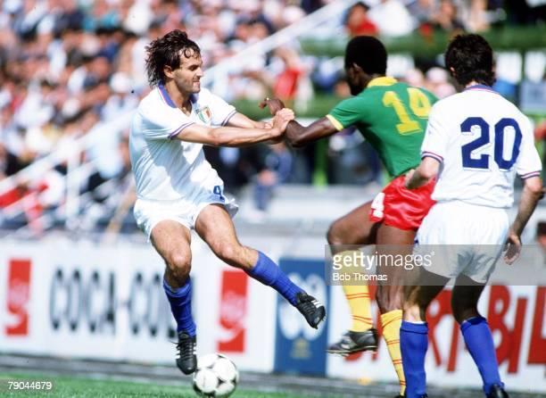 World Cup Finals Vigo Spain 23rd June 1982 Italy 1 v Cameroon 1 Italy's Antonio Cabrini challenges Cameroon's Theophile Abega