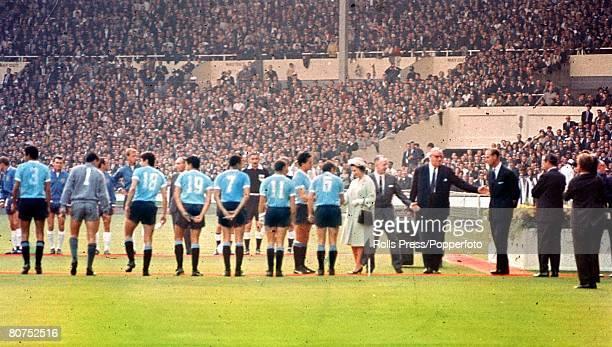 World Cup Finals Wembley Stadium England 11th July England 0 v Uruguay 0 The Uruguayan team meet HRH Queen Elizabeth II before the match