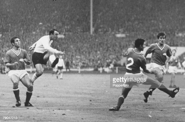 World Cup Finals Wembley Stadium England 20th July England 2 v France 0 England's Jimmy Greaves shoots as French defenders look on