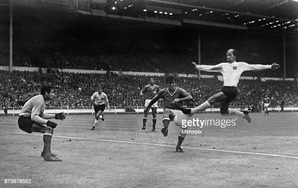 World Cup First Round Group A match at Wembley Stadium England defeated France by two goals to nil thanks to two goals from Roger Hunt Bobby Charlton...