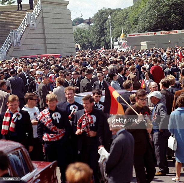 World Cup Football 1966 World Cup Final England beat West Germany 4 2 Crowds arriving at Wembley Stadium for the final match Supporters Fans Union...