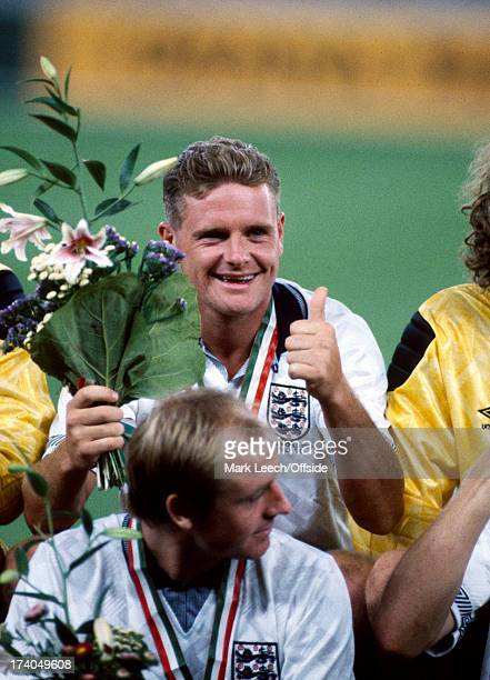 World Cup football England v Italy 3rd place play off Paul Gascoigne holds a bunch of flowers