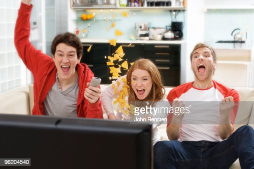 world cup football fans cheer at television sport