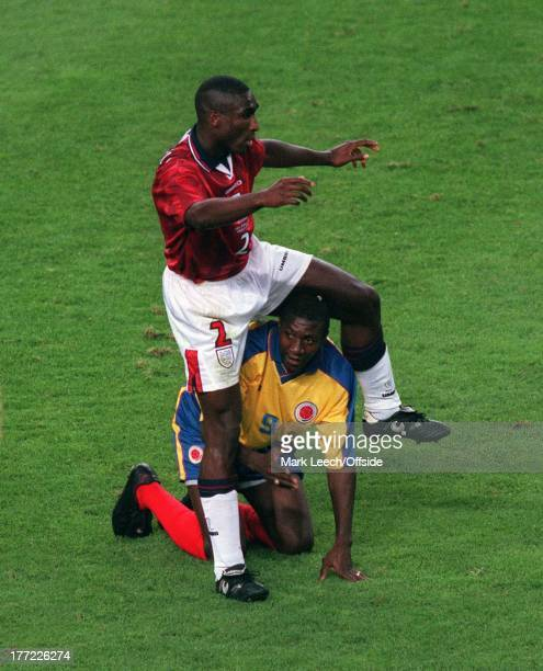 World Cup France '98 Colombia v England Sol Campbell steps over the floored Adolfo Valencia